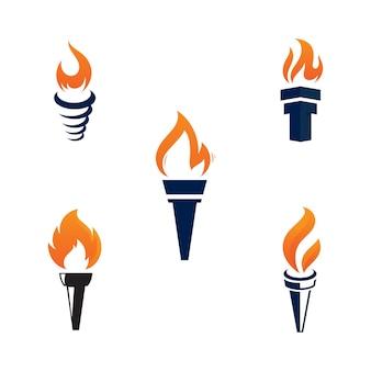 Modello di progettazione dell'illustrazione dell'icona di vettore della torcia