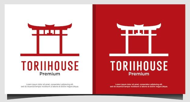 Design del logo della casa del cancello di tori
