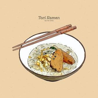 Tori ramen (zuppa di pollo), vettore di schizzo di tiraggio della mano.