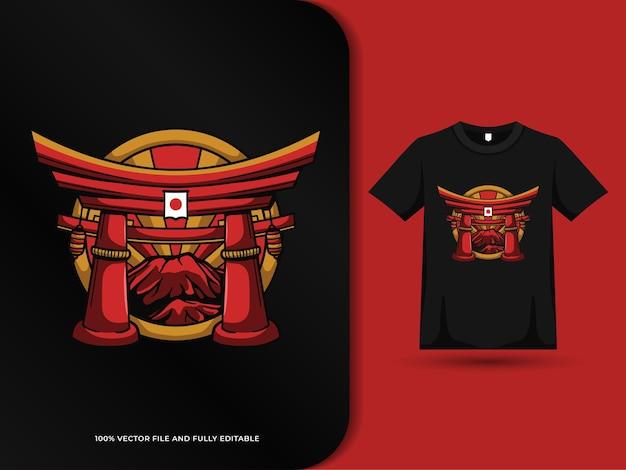 Torii gate giappone e design distintivo della montagna fuji con modello di tshirt