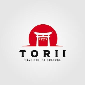 Torii gate logo illustrazione, giapponese simbolo di religione illustrazione