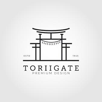 Torii gate logo cultura giapponese simbolo vettoriale illustrazione minima design
