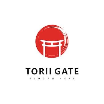 Torii logo icona giapponese illustrazione vettoriale design