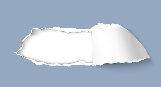 Carta strappata foro isolato su sfondo bianco