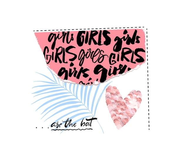 Le ragazze collage di carta strappata sono il miglior design di stampa con slogan di moda con paillettes rosa calligrafiche