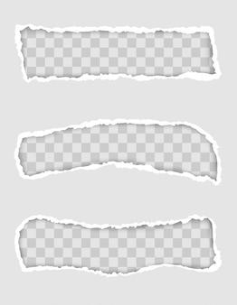 Bordo di carta strappata per il design con modello di spazio trasparente