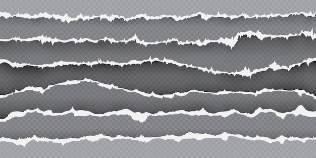 Bordo della striscia di carta strappata, pagina con bordi strappati. carta strappata realistica. cornice di pezzi di lamiera strappati. insieme di vettore di struttura del cartone strappato