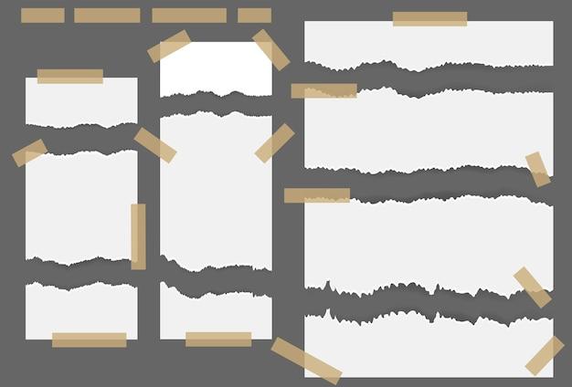 Fogli di carta strappati strappati con adesivo