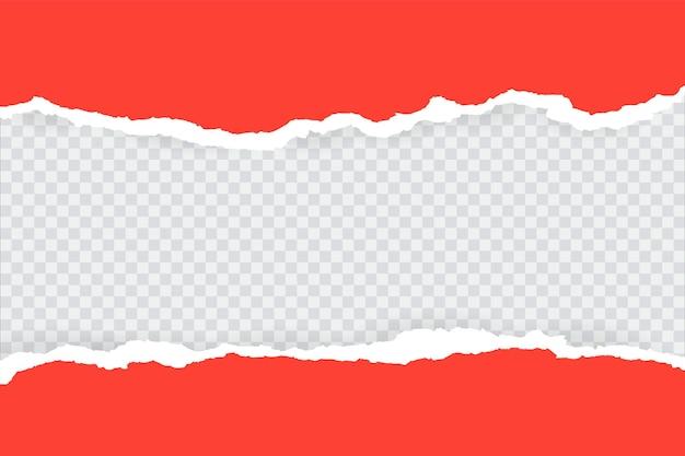 Pezzo di carta rossa orizzontale strappato e strappato.
