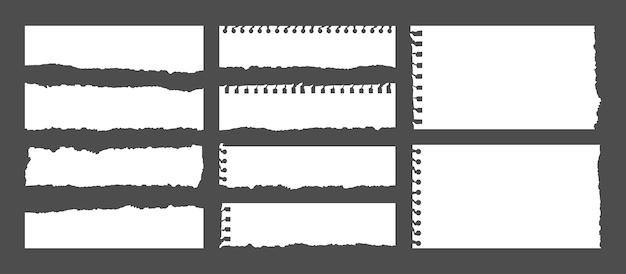 Set di note bianche strappate. strisce di carta in bianco del taccuino, nota strappata dei pezzi