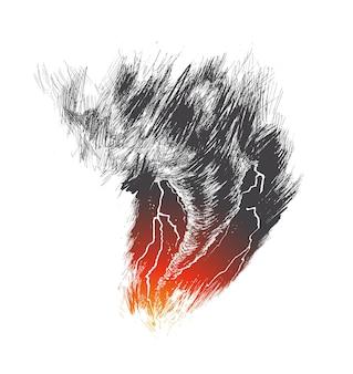 Illustrazione vettoriale di schizzo disegnato a mano del ciclone di tornado