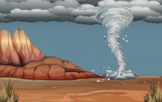 Un disastro di tornado in natura