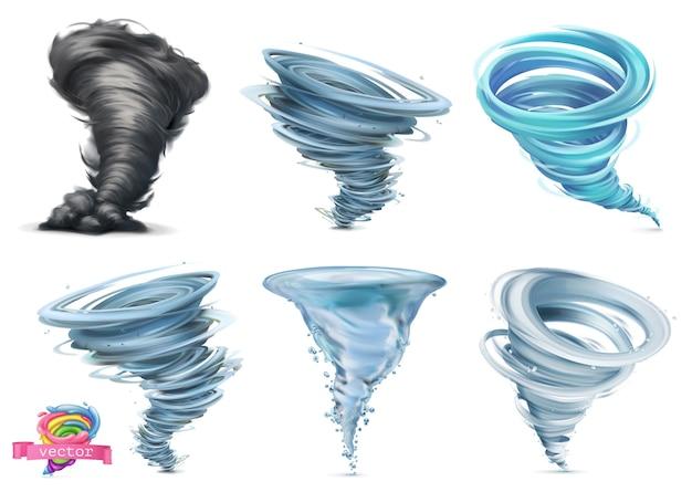 Tornado. uragano. set di illustrazione vettoriale 3d