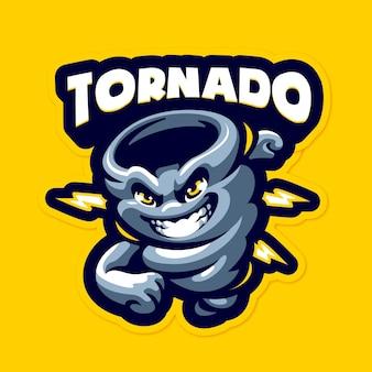 Modello di logo mascotte tornado