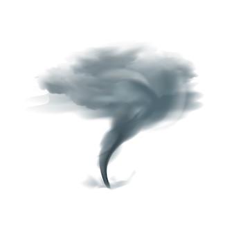 Tornado che volteggia roteante nel cielo nuvoloso in tonalità grige nere sull'illustrazione realistica di vettore del fondo bianco