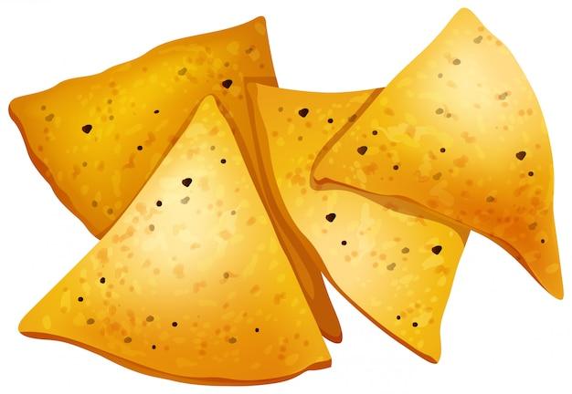 Chip di tortiglia su sfondo bianco