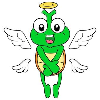 La tartaruga che era morta divenne un angelo che volava in cielo, illustrazione vettoriale. scarabocchiare icona immagine kawaii.