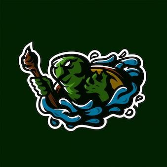 Modello logo mascotte gioco tartaruga esportata