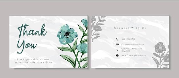 Modello di affari del biglietto di ringraziamento del fiore di tosca floreale dell'acquerello