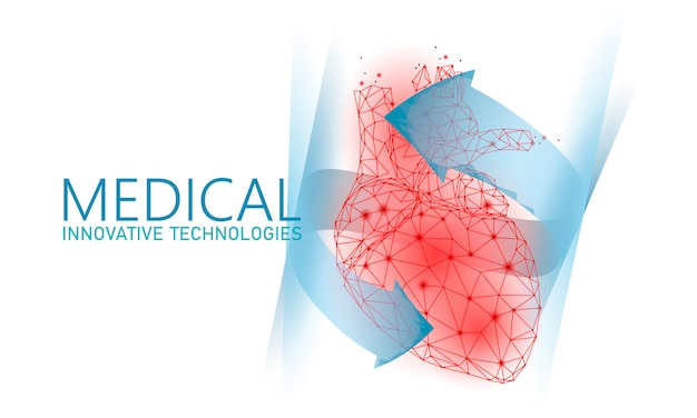 Il cuore sano totale batte il concetto basso della medicina 3d poli.