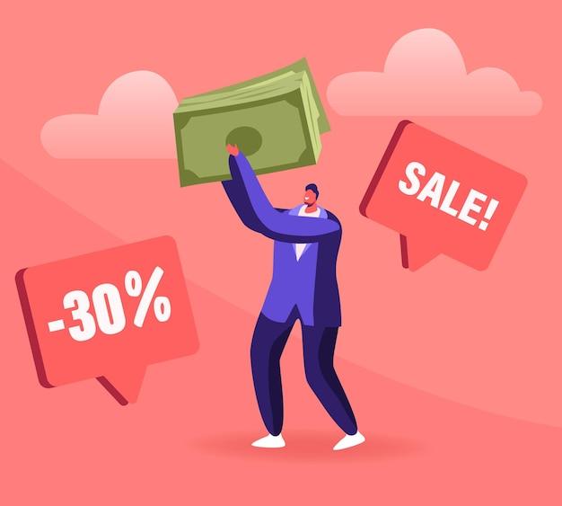 Concetto di vendita totale. cartoon illustrazione piatta