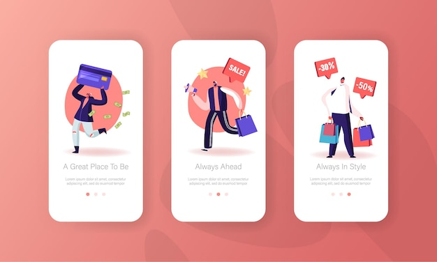 Set di schermate a bordo della pagina dell'app per dispositivi mobili di vendita totale.