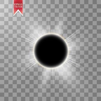 Illustrazione di eclissi solare totale su sfondo trasparente