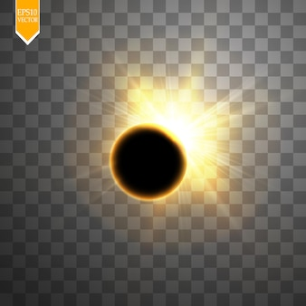 Eclissi solare totale su sfondo trasparente