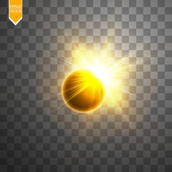 Illustrazione vettoriale di eclissi solare totale su sfondo trasparente