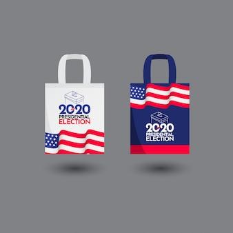 Illustrazione di progettazione del modello di vettore degli stati uniti delle elezioni presidenziali 2020 di voto della borsa di tote
