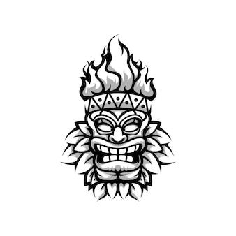 Totem mascotte design in bianco e nero