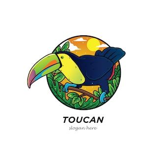 Tucano uccello cartone animato uccello con foresta
