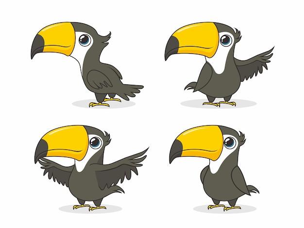 Insieme del fumetto dell'uccello del tucano isolato su bianco