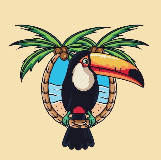 Cartone animato di uccello tucano con spiaggia