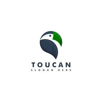 Logo mascotte uccello tucano. logotipo di testa di animale