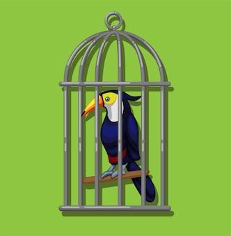 Tucano in gabbia per uccelli. uccello esotico del tucano (famiglia ramphastidae) dall'illustrazione americana della foresta tropicale nel vettore del fumetto
