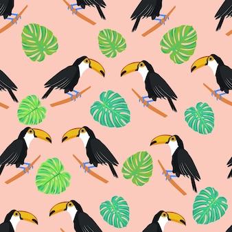 Tucano uccello tropicale monstera lascia un modello senza cuciture con tucani e foglie esotiche