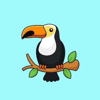 L'uccello tropicale della foresta del tucano si è appollaiato su una progettazione esotica della mascotte del carattere della fauna selvatica dell'illustrazione di vettore del profilo del ramo di albero