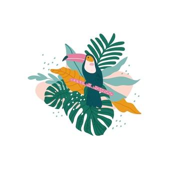 Tucano con foglie tropicali, monstera, foglie di palma, ibisco Vettore Premium