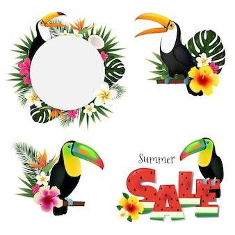 Set di banner di vendita estiva di tucani e foglie tropicali