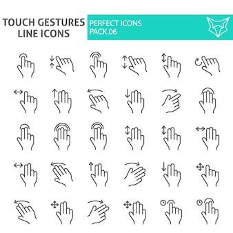 Tocco gesti set di icone linea sottile, fare clic su raccolta