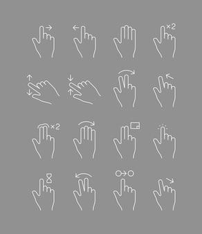 Gesti del touch screen. i segni delle mani toccano l'icona della linea vettoriale a scorrimento multi drop dei dispositivi mobili. illustrazione del gesto della mano diapositiva, puntare il dito con freccia