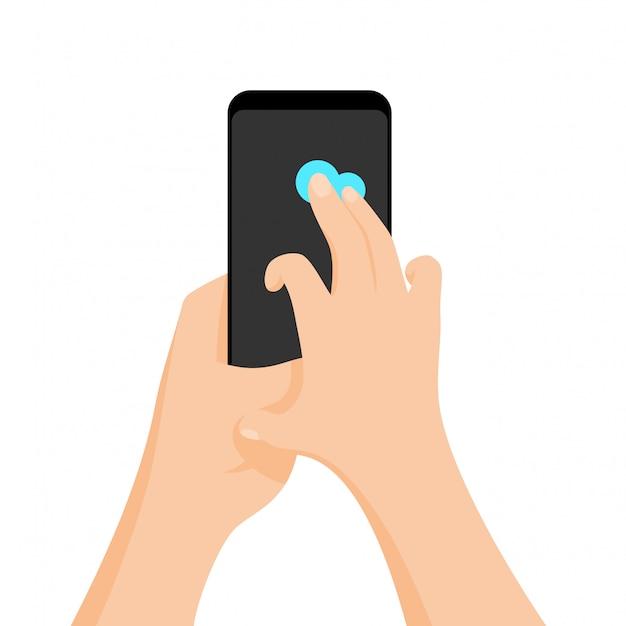 Le icone di gesti di mano dell'interfaccia del touch screen hanno messo isolato