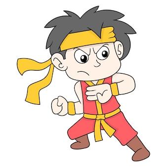 Combattente del ragazzo duro che pratica le pose di arti marziali, arte dell'illustrazione di vettore. scarabocchiare icona immagine kawaii.