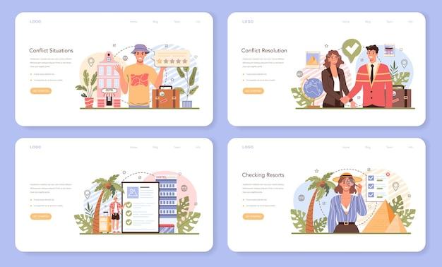 Banner web dell'agente turistico o set di pagine di destinazione. agenzia organizzazione vacanze