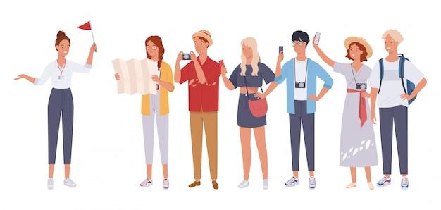 Guida turistica signora e gruppo di turisti.