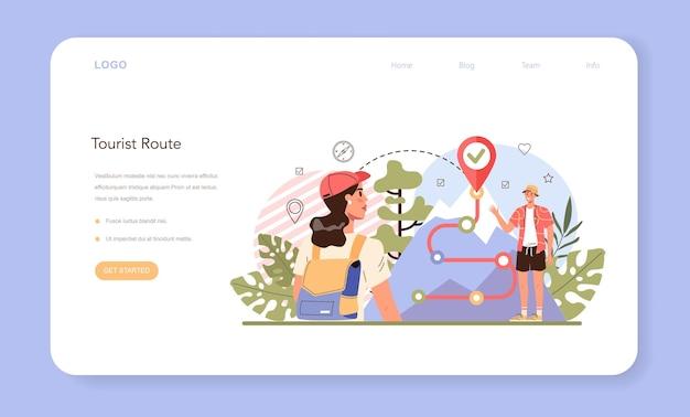 Banner web o pagina di destinazione della guida turistica. turisti che seguono un percorso selvaggio