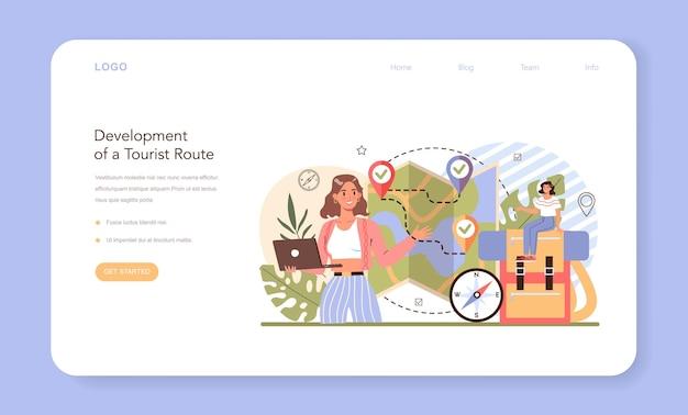 Banner web della guida turistica o sviluppo del percorso dei turisti della pagina di destinazione