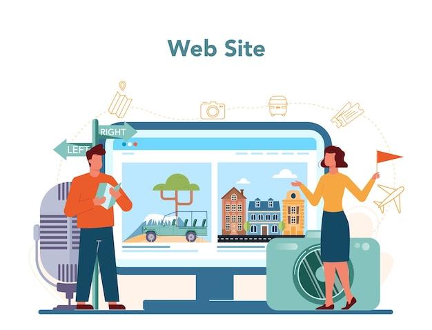 Servizio o piattaforma online di guida turistica turistica.
