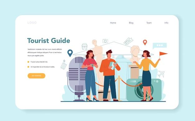 Banner web o pagina di destinazione della guida alle vacanze turistiche